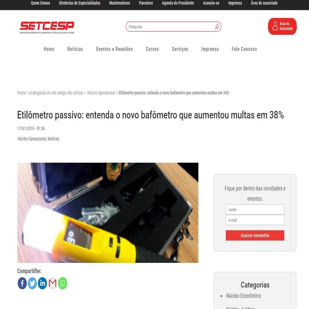 Sindicato das Empresas de Transportes de Carga de São Paulo e Região - Bafometro Passivo-iblow10