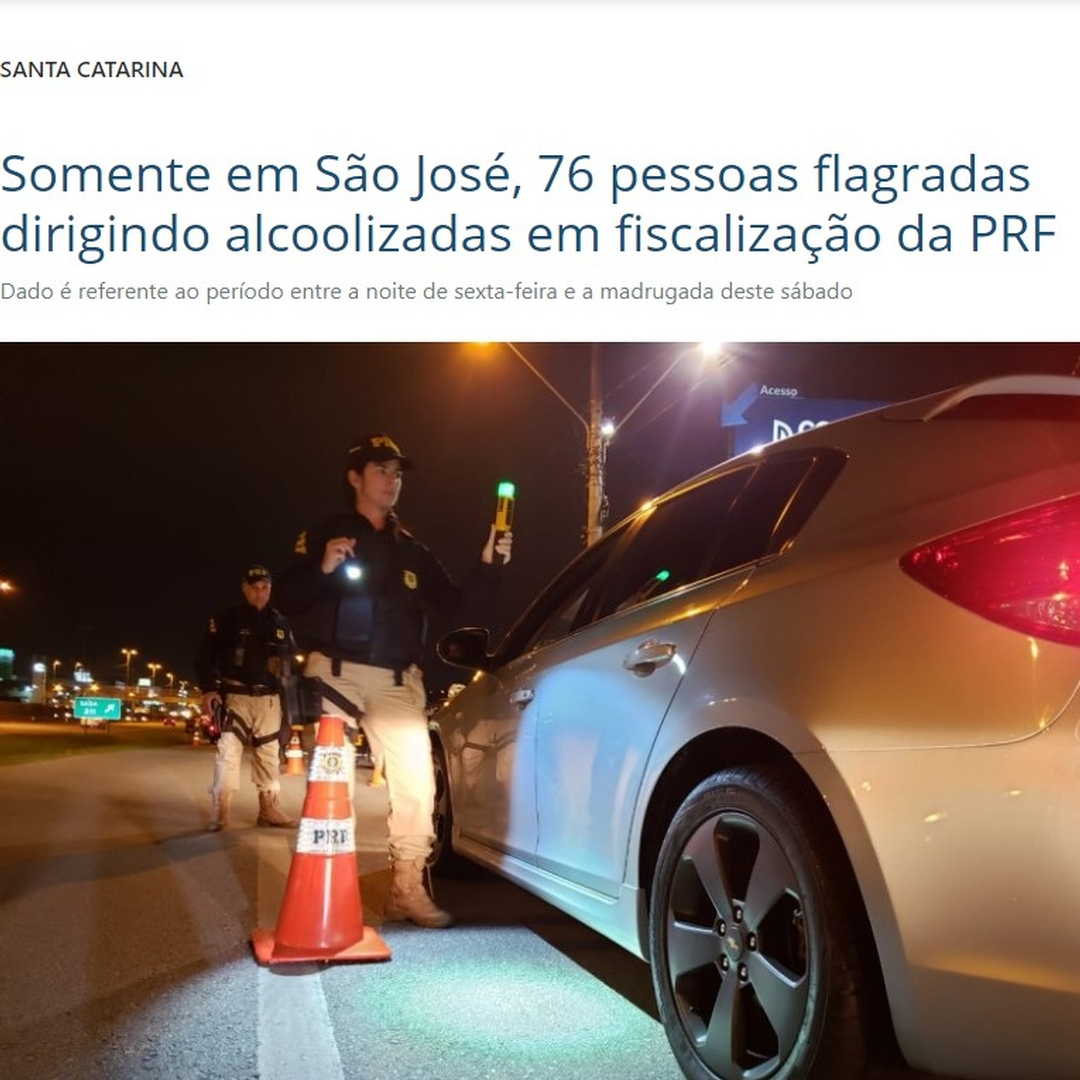 Somente em São José, 76 pessoas flagradas dirigindo alcoolizadas em fiscalização da PRF-Bafometro Passivo